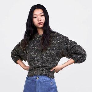 Zara sequin balloon sleeve sweater gray medium